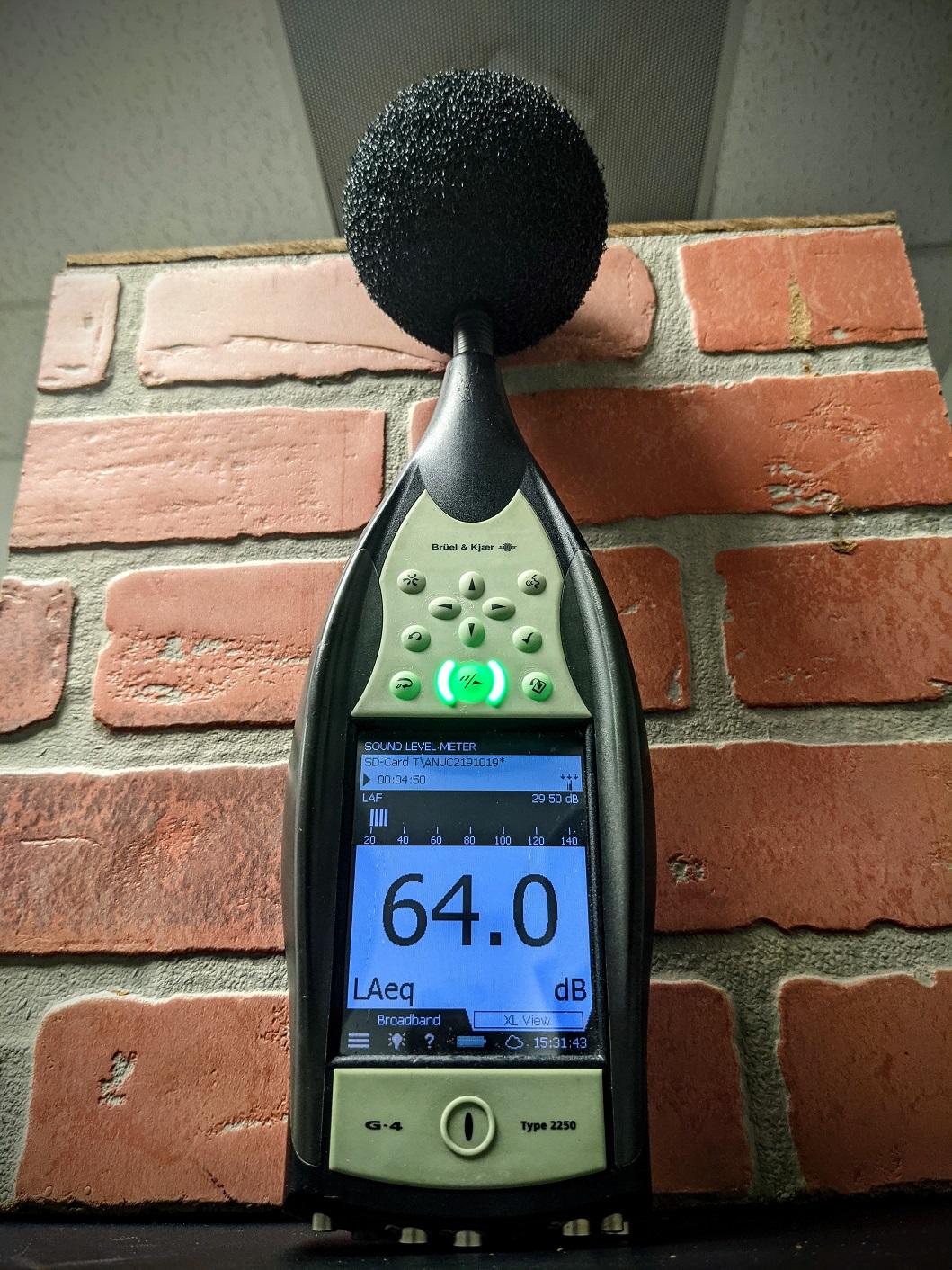 B&K Sound Meter measuring human speach sound level